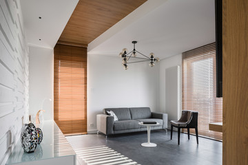 Apartment with wooden blinds