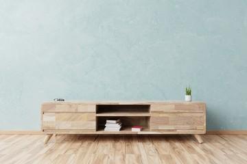Cabinet mockup in modern empty room,blue wall, 3d rendering