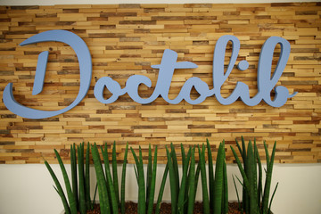 A logo of Franco-German online medical appointements booking platform Doctolib is seen at their headquarters in Paris