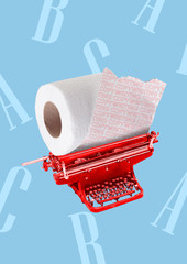 A copywriting concept. Red typewriter with toilet roll instead of paper and letters on the blue...
