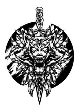 wolf illustration with knife in head with Pointilism style