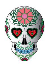 Art Sugar Skull Day of the dead. Hand drawing make graphic vector.