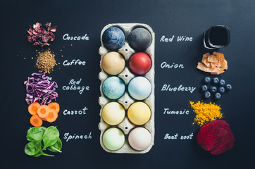 Homemade naturally dyed Easter eggs