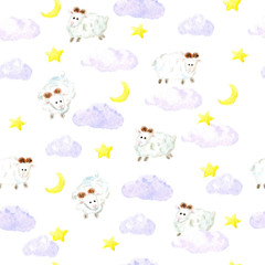 Watercolor sheeps, stars and clouds seamless background.