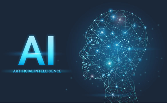 Artificial intelligence, AI concept, neural networks, face silhouette