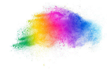 Colorful powder explosion on white background. Abstract pastel color dust particles splash. Wall mural