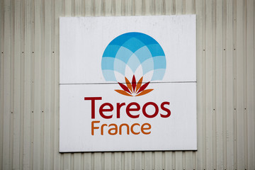 The Tereos logo is displayed at a sugar beet processing plant in Chevrieres