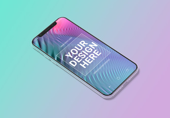 Smartphone Mockup Isolated with Pastel Background