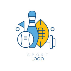 Hobby logo template with sports equipment. Bowling skittle, flag, barbell, balls for baseball and American football. Linear vector design for sports section