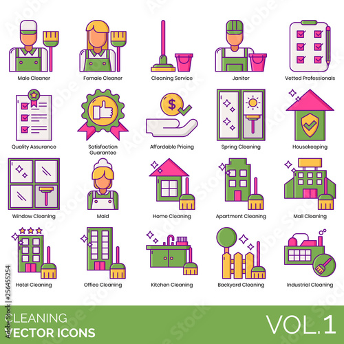 Cleaning icons including male, female cleaner, service