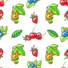 Watecolor Seamless pattern with berries and leaves