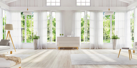White interior design with large windows. Scandinavian interior design. For your creativity.