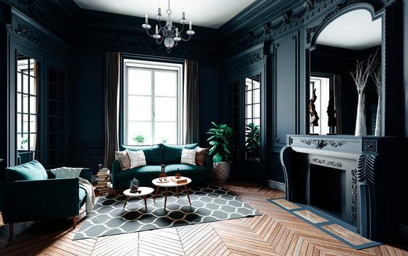 3d render of beautiful classic interior