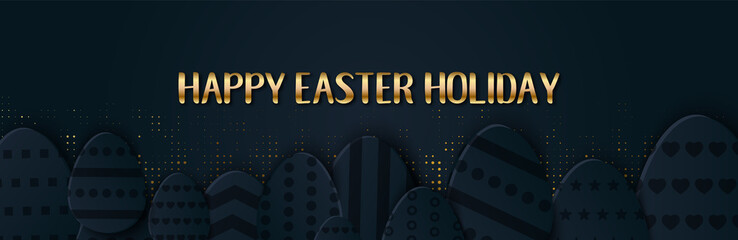 Happy Easter greeting banner with a gold lettering. Paper cut Layered Eggs Hunt. Holiday symbol for fashion, shopping sale banners, voucher, add, e-mail letter.