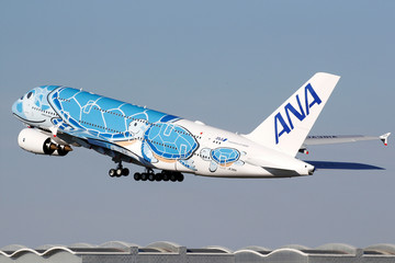 The first Airbus A380 for All Nippon Airways (ANA) takes off during a delivery ceremony at the Airbus delivery center in Colomiers near Toulouse