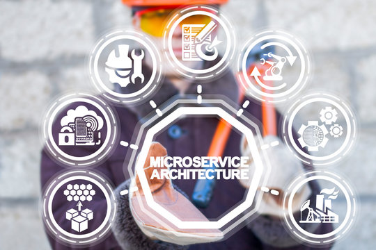 Microservices architecture manufacturing concept. Modern micro service industry retention.