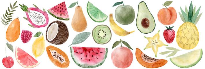 Fototapeta Watercolor Pitaya, banana, coconut, watermelon, papaya, lemon, mango, raspberry, cherry, grapefruit, carambola, avocado, peach, pineapple, melon, strawberry, pear, lime, apple, orange, watermelon,kiwi obraz