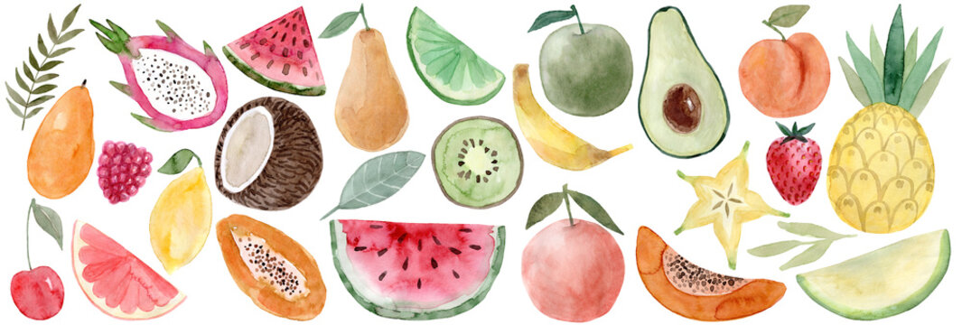 Watercolor Pitaya, banana, coconut, watermelon, papaya, lemon, mango, raspberry, cherry, grapefruit, carambola, avocado, peach, pineapple, melon, strawberry, pear, lime, apple, orange, watermelon,kiwi