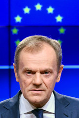 President of the European Council Donald Tusk delivers a statement on Brexit ahead of the EU summit in Brussels