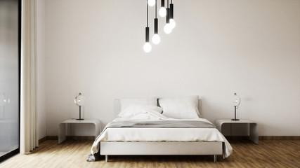 vue 3d grand lit avec lampes