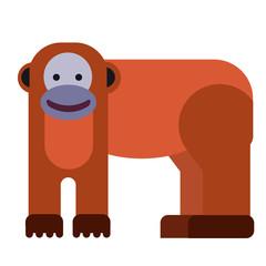Monkey flat illustration on white
