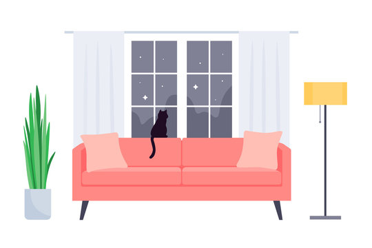 Interior of the living room in the house. Sofa, plant, window, floor lamp and cat. Vector flat illustration