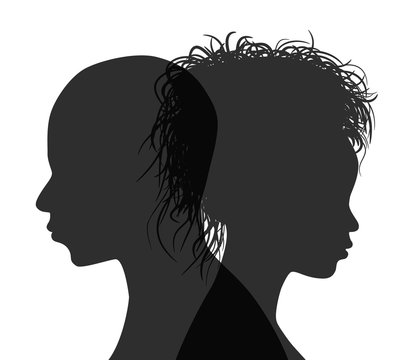 African American couple profile silhouette isolated. Vector