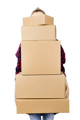 woman carrying stack of cardboard boxes on white background