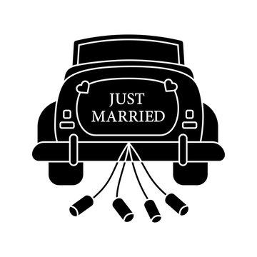 Wedding car rental glyph icon