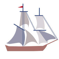 Ship flat illustration on white