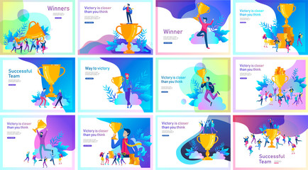 Business Team Success hold Golden winner cup, concept of people are happy with victory. Office Workers Celebrating with Big Trophy, ways goals, first place in business, financial growth. Landing page Fototapete
