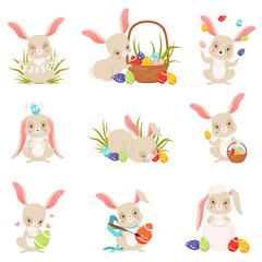 Cute cartoon bunnies holding and eggs set, funny rabbit characters, Happy Easter concept cartoon vector Illustrations