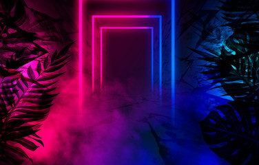 Empty scene background, abstract background with multicolored bokeh and neon lights. Silhouettes of...