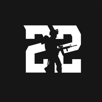 22 Each Day Soldier Military Veteran Silhouette with Gun AR-15 Rifle in Number Suicide Prevention