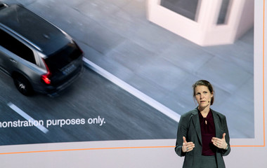 Malin Ekholm, head of Volvo Cars Safety Centre talks during a news conference in Gothenburg