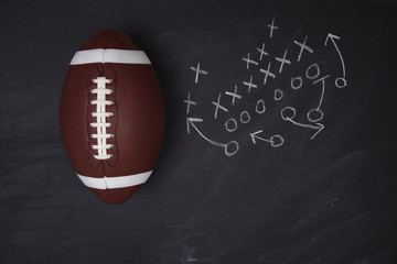 American College Football and play diagram on a chalkboard.