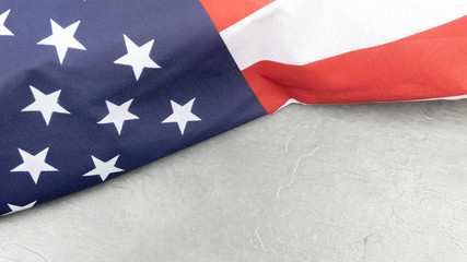 Close-up of an American flag on slate