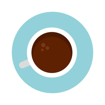 Coffee cup top view vector icon flat isolated
