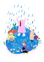 Children play in rain puddle