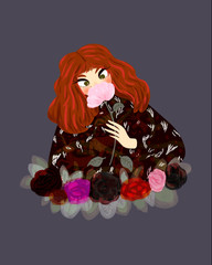 Redheaded woman smells a pink flower