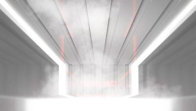Light background, white tunnel, light neon light. Abstract tunnel, corridor, room