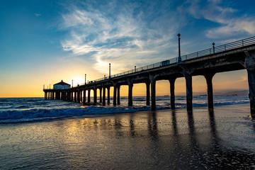 scenic pier at Manhattan Beach near Los Angeles in sunset