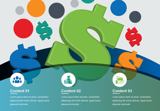 Financial Infographic With 3D Vector Dollar Signs