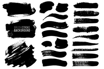 Big vector set of hand drawn brush strokes and stains. One color monochrome artistic hand drawn backgrounds and graphic resources. Various shape ink spots.