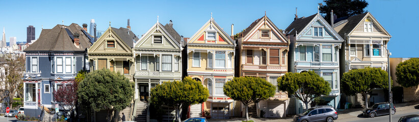 victorian houses at San Francisco heights