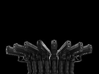 Blossom of guns - black semi auto handguns one next to each other