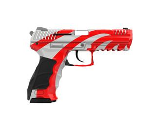Modern semi auto gun - custom red and white stripes paintjob