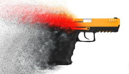 Modern semi auto handgun dissolving into particles