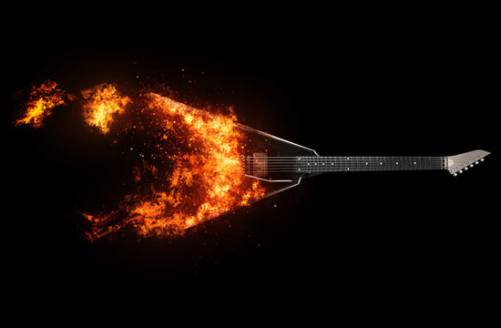 Black heavy metal guitar bursting into flames