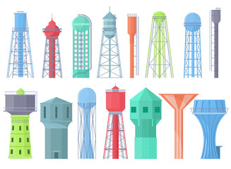 Water tower vector tank storage watery resource reservoir and industrial high metal container water-tower illustration set of towered construction isolated on white background